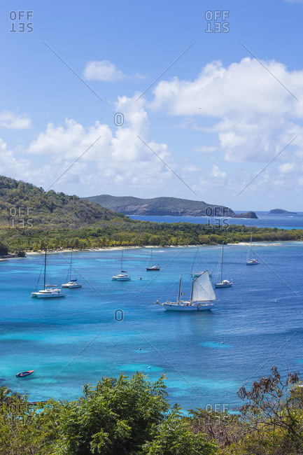 Mustique, St. Vincent and the Grenadines - February 26, 2018:View of Brittania Bay