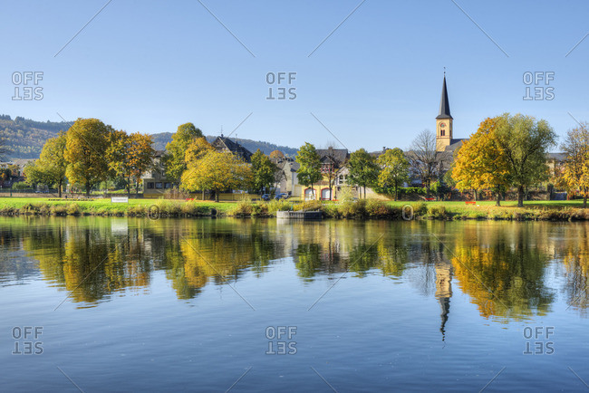 View at Trittenheim with river Mosel at fall, Rhineland-Palatine, Germany