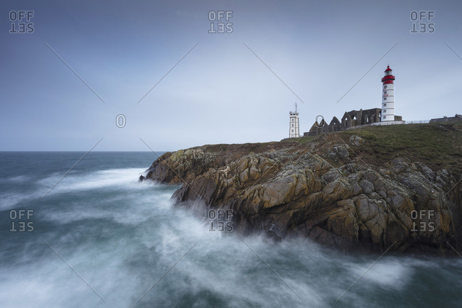Pointe Saint Mathieu lighthouse and abbey ruins, Brittany, France