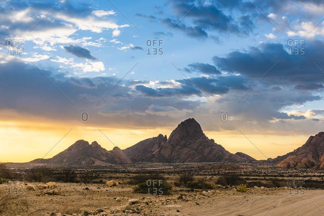 Spitzkoppe, Damaraland, Namibia, Africa. Granite peaks at sunset
