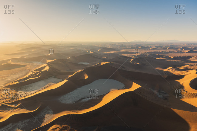 Sossusvlei, Namib-Naukluft National Park, Namibia, Africa. Aerial view of the Deadvley and the sand dunes at sunrise