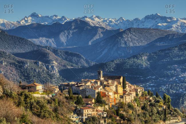 View at Bouyon with the mountains of Parc National de Mercantour, Alpes-Maritimes, Provence-Alpes-Cote d'Azur, France
