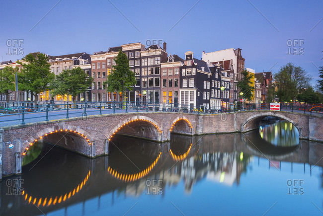 Amsterdam, Holland, Canals at dusk
