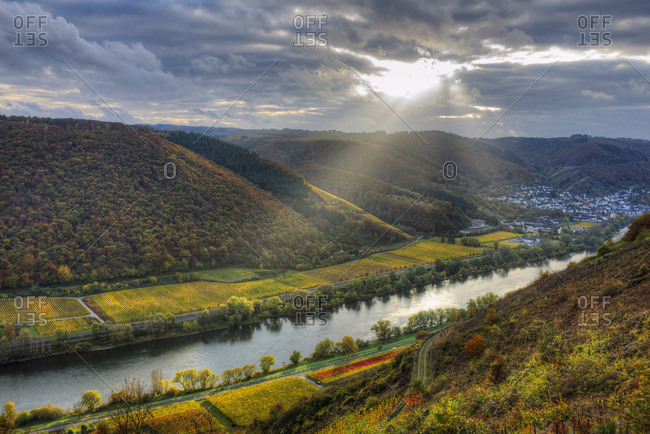 River Mosel with Sehl at fall, Rhineland-Palatinate, Germany