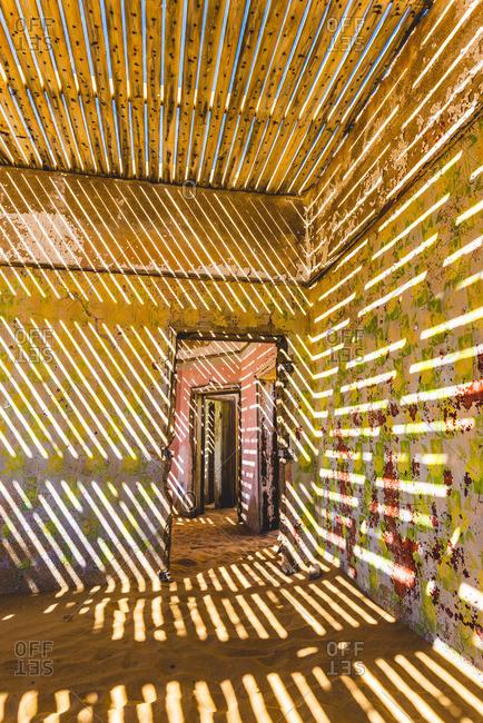Kolmanskop, Luderitz, Namibia, Africa. Inside of an abandoned building