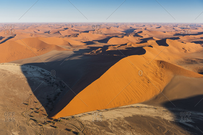 Sossusvlei, Namib-Naukluft National Park, Namibia, Africa. Aerial view of the sand dunes at sunrise