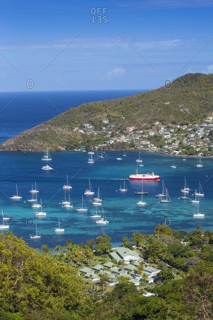 St Vincent and The Grenadines, Bequia, View over hotel to Admiralty Bay