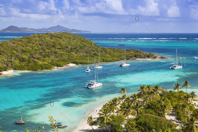St Vincent and The Grenadines, Tobago Cays, Petit Bateau looking across to Petit Rameau