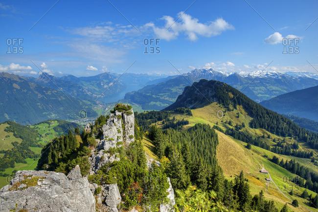 View from Wageten at Riseten mountain, Walensee, Churfirsten and Glarner Alps at fall, Glarus, Switzerland