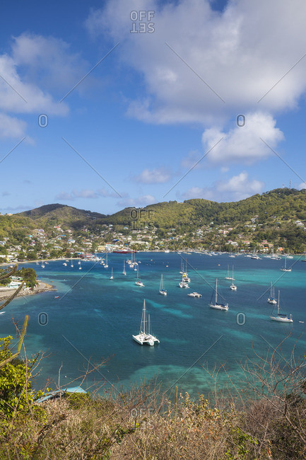 St Vincent and The Grenadines, Bequia, View of Admiralty Bay and Port Elizabeth