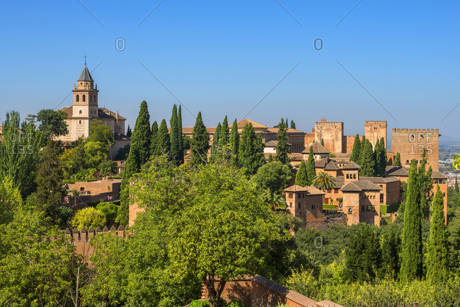 Alhambra from the Generalife gardens, UNESCO World Heritage Site, Granada, Andalusia, Spain