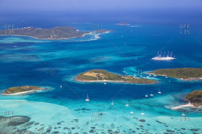 St Vincent and The Grenadines, Aerial view of the Tobago Cays and cruise ship