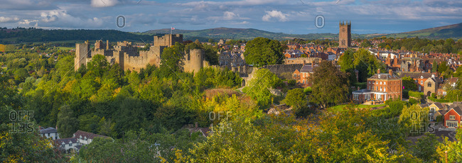 UK, England, Shropshire, Ludlow, Ludlow Castle and St Laurence's Church
