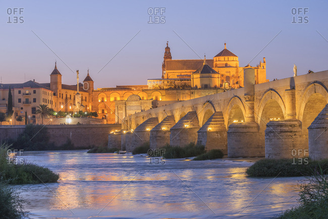 The Roman bridge of Cordoba With Mezquita and  River Gaudalquivir, UNESCO World Heritage Site, Cordoba, Andalusia, Spain