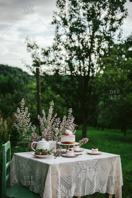 Cake with fruit on an outdoor table