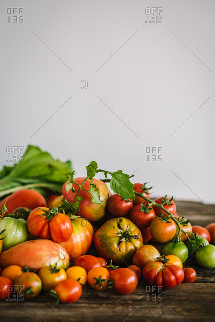 Fresh picked tomatoes on a rustic wooden table