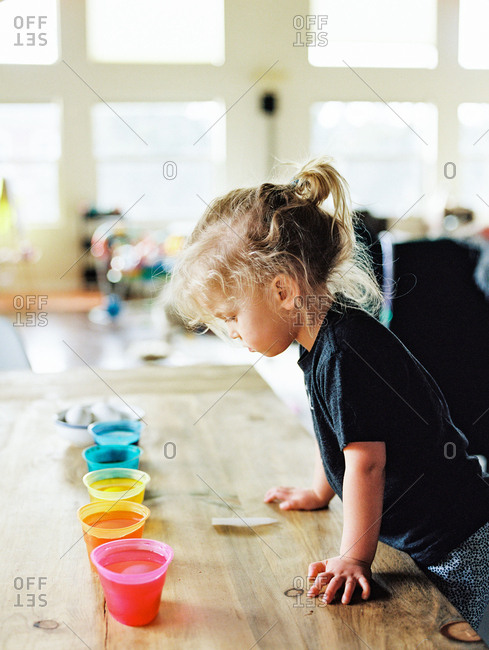 Little girl looking at cups with dye for Easter eggs