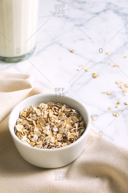 Oat bowl and a glass of milk