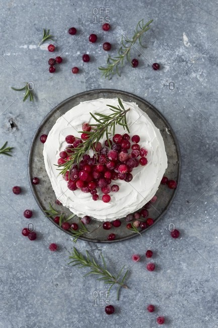 A winter cranberry cake with vanilla frosting and rosemary (seen from above)
