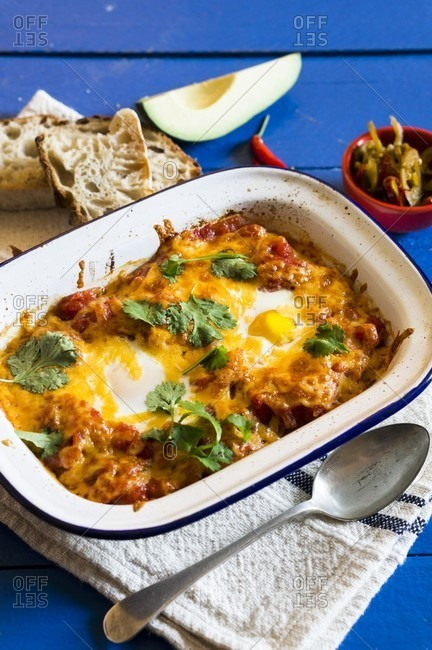 Baked eggs with parsley