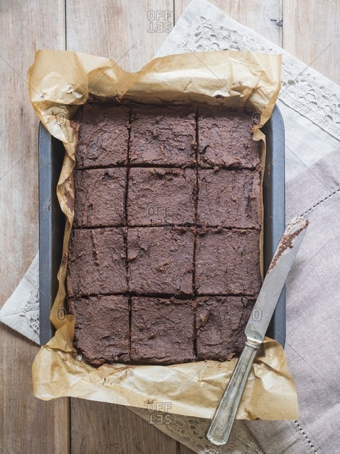 Vegan chickpea brownies in a baking tin