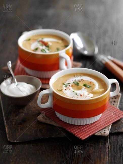 Lentil soup with cr�me fraiche