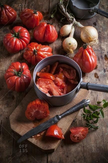 Fresh organic tomatoes for making tomato sauce