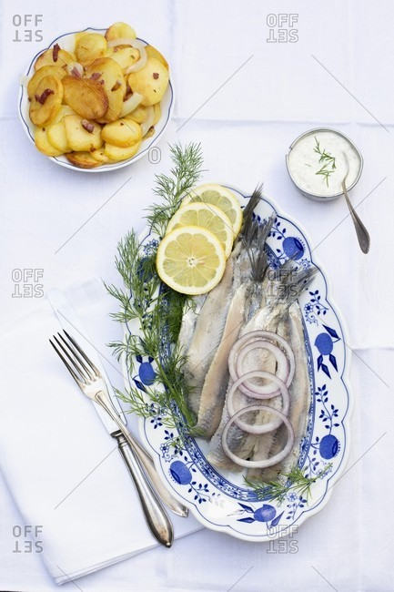 Soused herring with fried potatoes and remoulade