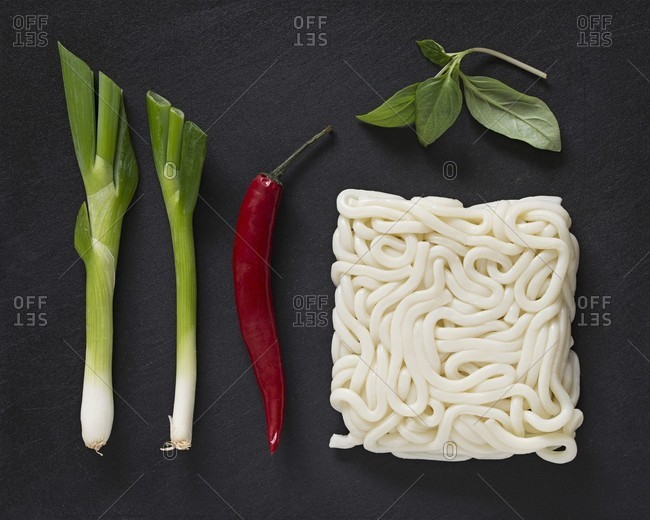 Ingredients for udon noodle soup