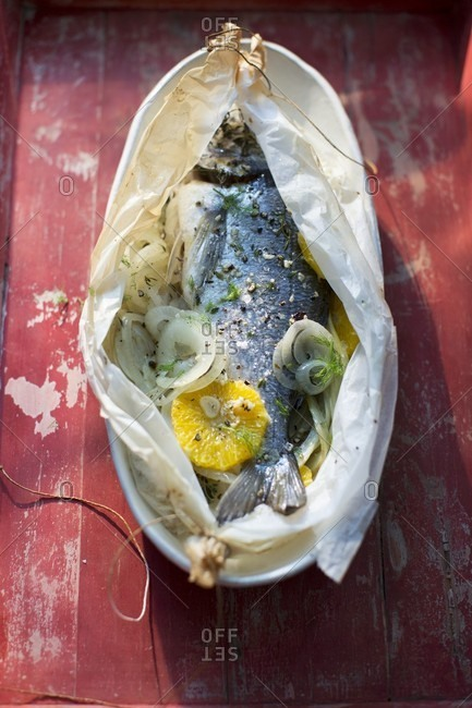 Sea bream in greaseproof paper