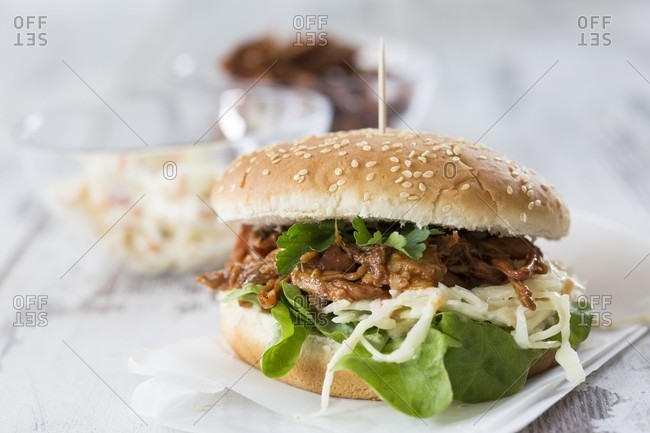 A pulled pork burger