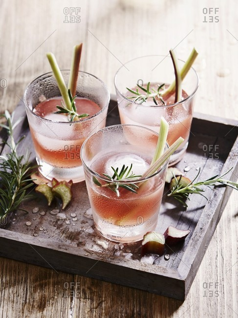Rhubarb vodka with rosemary