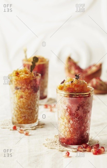 Pomegranate granita in oriental glasses