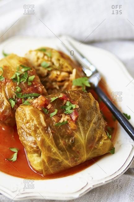 Golabki (Polish cabbage roulade) with tomato sauce