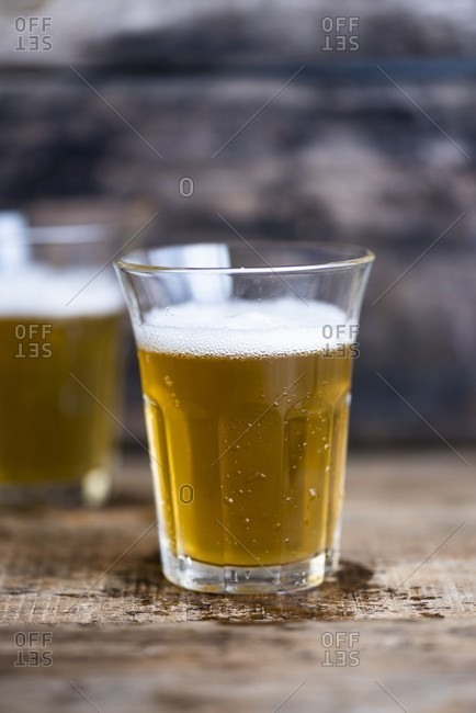Two glasses of light beer