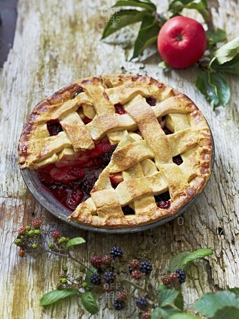 Apple and blackberry tart with a lattice top