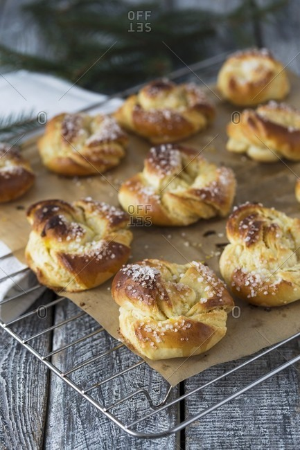 Almond filled pastries with saffron