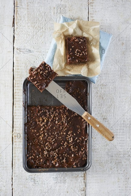 Raw chocolate brownies on a baking tray