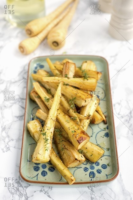 Roasted parnsips with honey and thyme