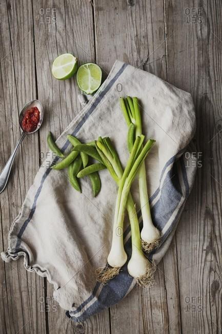 Vegetables on a cloth