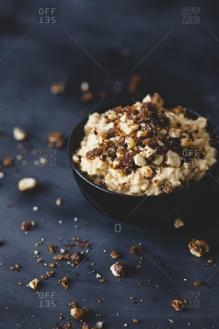 Caramel millet porridge with caramelized nuts