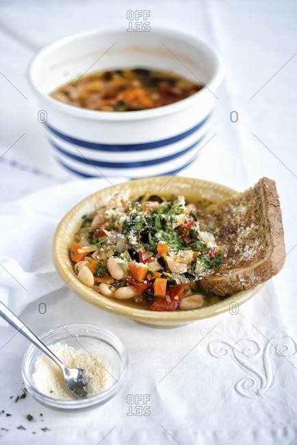 Ribolita ? hearty Tuscan vegetable soup served with sourdough bread