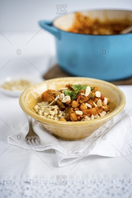 Lamb stew with flaked almonds (Morocco)