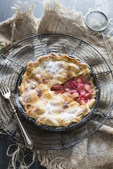 Rhubarb pie in a baking tin