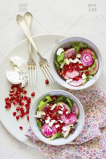 Beetroot salad with pomegranate seeds and goat's cheese