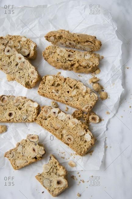Biscotti with hazelnuts