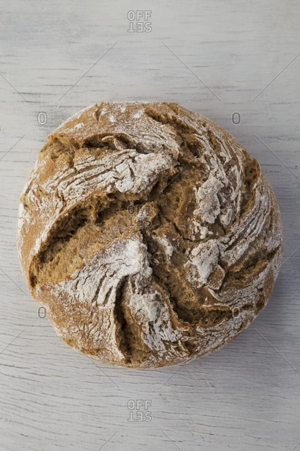 A loaf of country bread (seen from above)