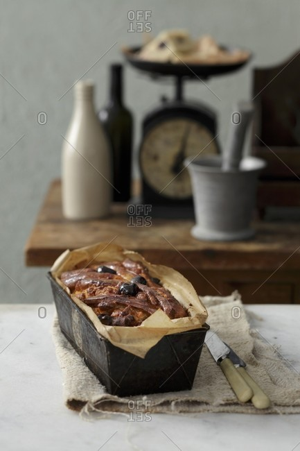Cherry and marzipan cake in a loaf tin