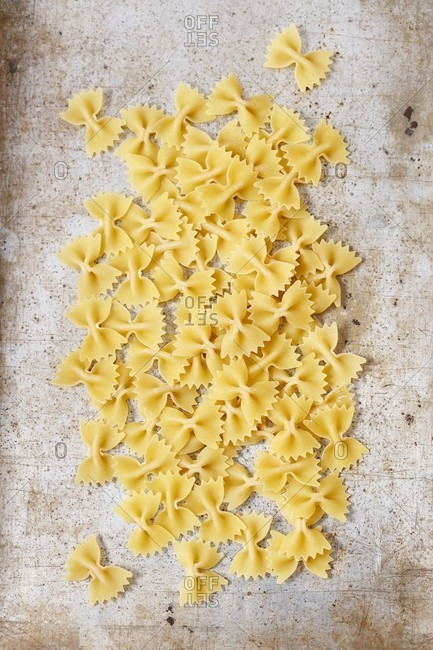 Farfalle on a grey surface