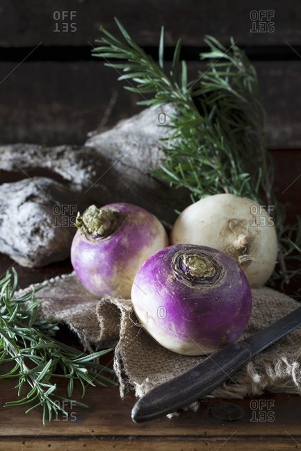 Turnips and fresh rosemary